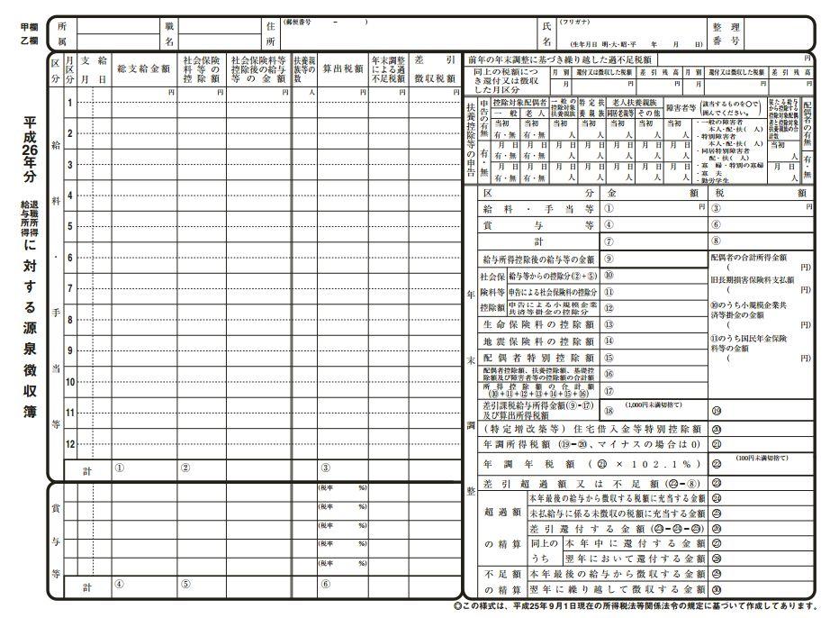 源泉徴収簿