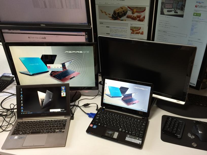 ノートPCと液晶ディスプレイ