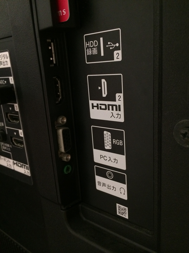 HDMI、D-sub接続口