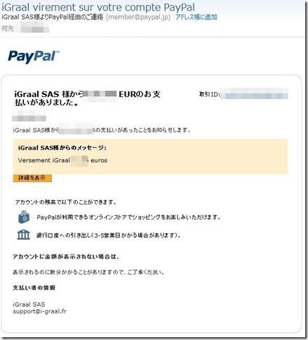 Paypalからの振込メール