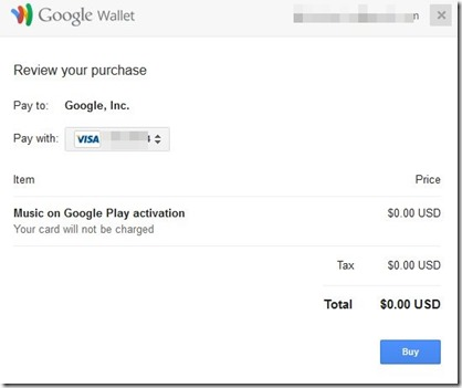 Google Walletで0ドル決済
