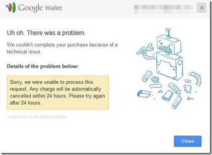 Google Walletでエラー
