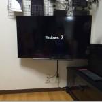 40型液晶テレビをモニターアームに固定して壁掛けっぽくしてみた。